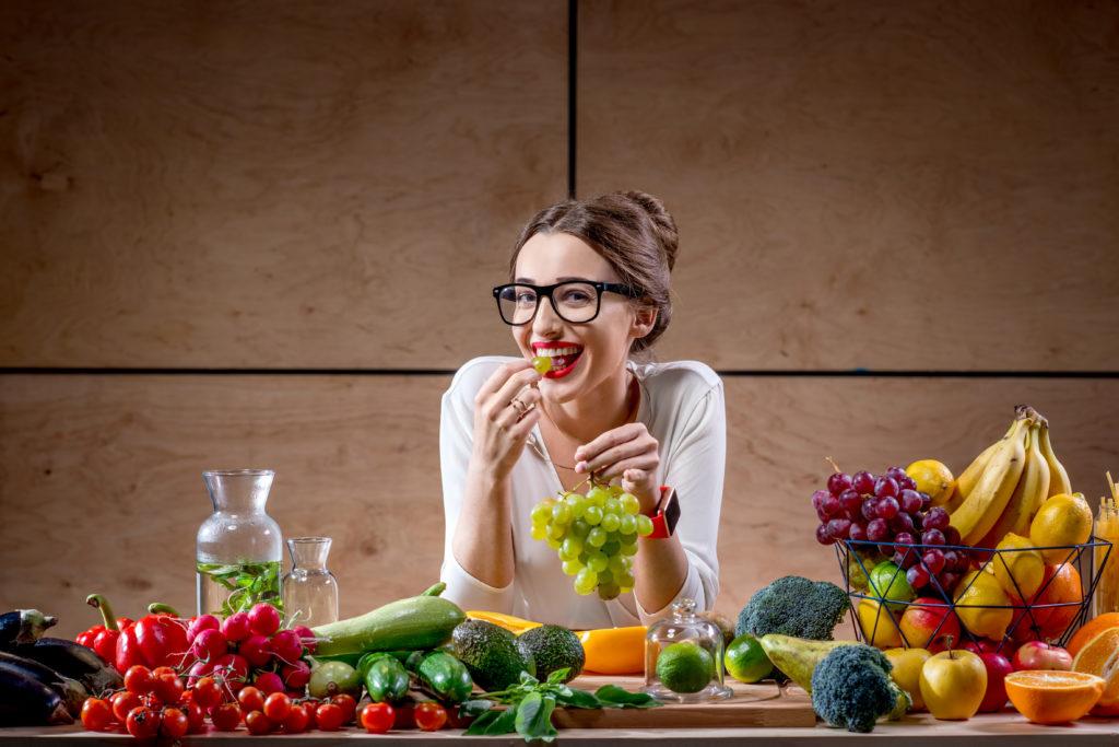 Eating healthy fresh food